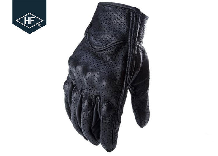 Black Leather Aftermarket Motorcycle Accessories Full Finger Motorcycle Golves
